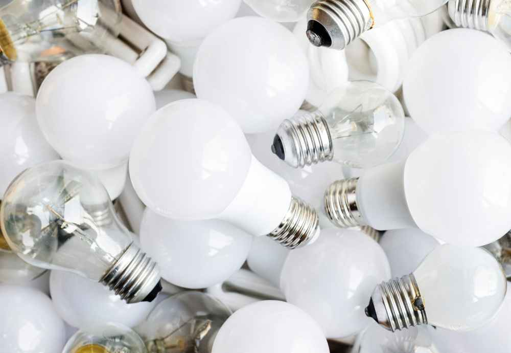 selective focus photography of white bulbs